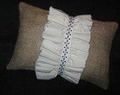 Burlap pillow with ruffle