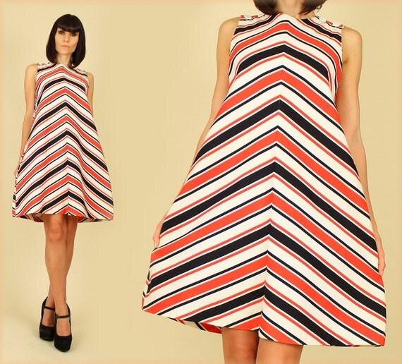 ViNtAgE 60's Chevron Striped MoD SpAcE AgE MiNi Tent Dress By Fritzi m/l