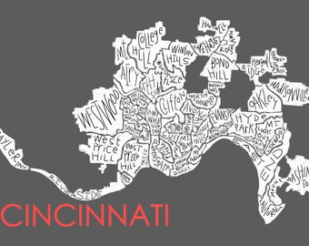 Cincinnati Neighborhood Map Hand-drawn Print