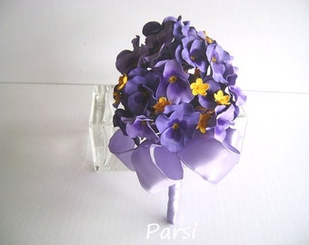 Purple Pansy Bridal Bridesmaid Bouquet Spring Pansies Wedding Nosegay