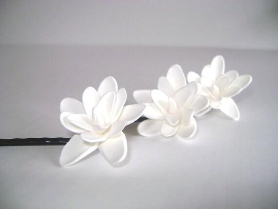 Wedding Hair Fascinator Bridal Bridesmaid Tuberose Hair Pins Set of 3 Made to Order