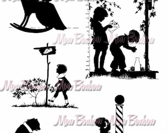 Digital Collage Sheet of Vintage StoryBook Silhouette Illsutrations Images - INSTANT DOWNLOAD