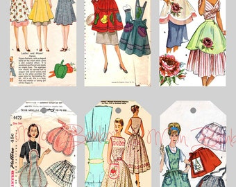 Digital Collage Sheet of Vintage Sewing Pattern Aprons Tags Printable Sheet - INSTANT DOWNLOAD
