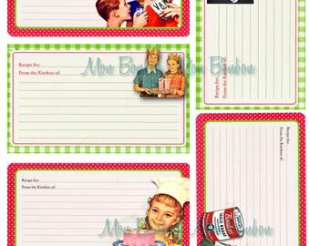 Digital Vintage Retro Cooking Recipe Cards  - DIY You Print - INSTANT DOWNLOAD