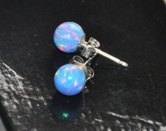 Earrings Opal, Sterling Silver Earrings,  Blue Opal,  Australian Opal, 6mm Ball Stud Earrings, 925 Sterling Silver,  Gift For Her