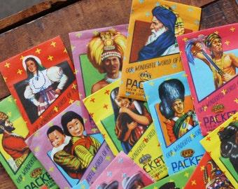 Vintage Our Wonderful World of People - 2 Unopened Packs - 20 Images - Historic Landmarks, Costumes, Flags, Emblems