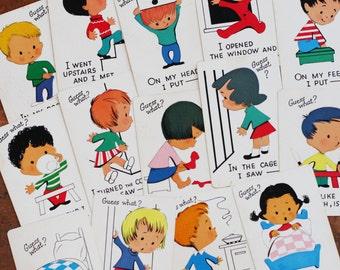 Vintage Guess What Little Children Cards - Set of 3 - Vintage Cards, Vintage Children Cards, Scrapbooking Ephemera, Paper Ephemera