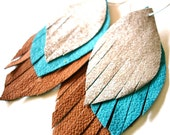 Leather Feather Earrings in silver, turqouise and tan - recycled
