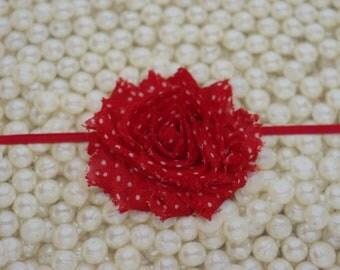 Red With White Dot Baby Girl Headband Shabby Chic Flower Headband Skinny Elastic Headband  Newborn