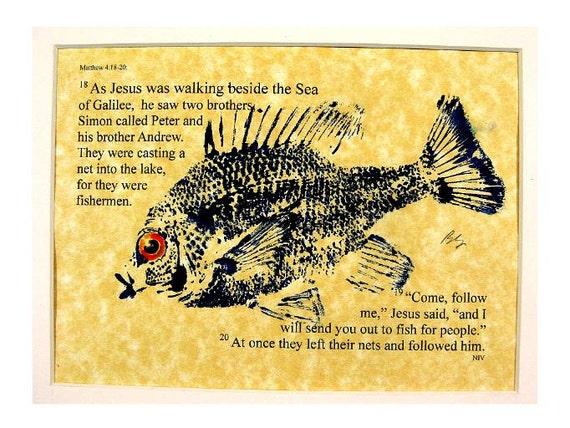 Fishers of men Bible Passage Art. Matthew 4:18-20 NIV. 8X10 original Cottage Decor GYOTAKU Fish Rubbing matted