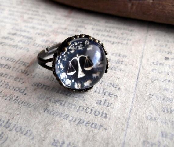 SALE, Libra Ring, Zodiac Jewelry,