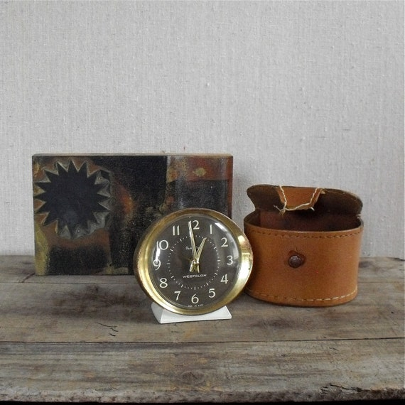 Vintage Alarm Clock with Leather Case : WestClox Baby Ben