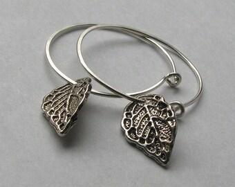 Silver leaf hoop earrings sterling silver wire