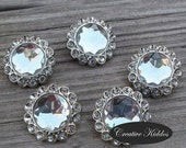Clear 20mm Rhinestone Buttons x 5