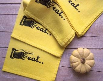 Cloth Napkins - Eco Friendly - Table Napkins - Dinner Napkin - Yellow Kitchen- Reusable Set Of 4 - Mod Kitchen - Eat Decor - Home