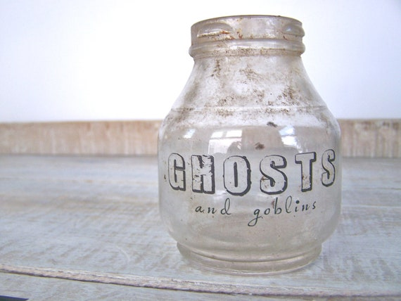 SALE // Halloween Decor GHOSTS Primitive Farmhouse OLD Bottle Apothecary Jar Shabby Cottage Party