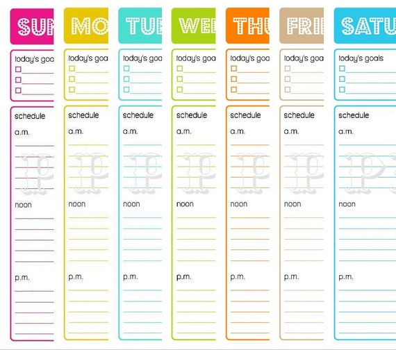 Printable Daily Planner . To Do List . Goals. Schedule . Menu . Errands . For Home Binder or Household Notebook