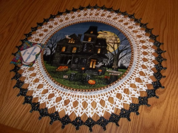 Crocheted Halloween Doily Haunted House Fabric Center with Crocheted Edging Medium 18 inches
