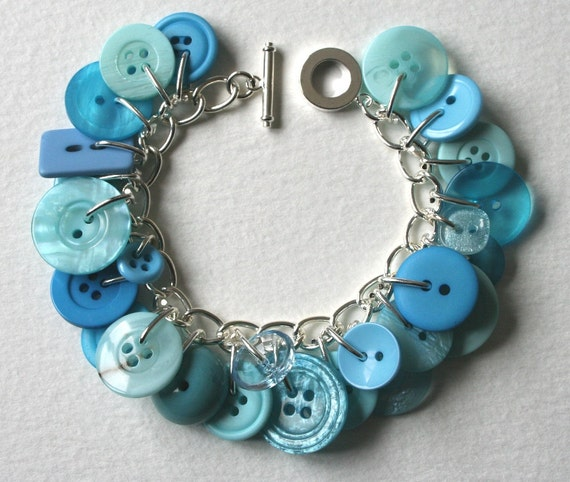 Button Bracelet Aqua Ocean Blue
