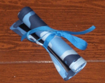 Blue Camo chalk mat with ribbon ties