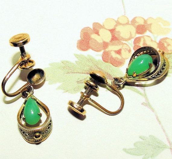 Vintage Gold Filled Sorrento Earrings, Gold and Jade Vintage Earrings, Ladies Dangle Earrings