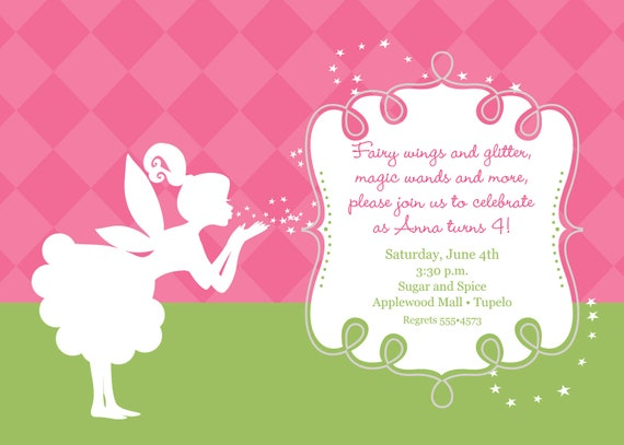 Pixies And Fairy Wings Birthday Invitation Printable