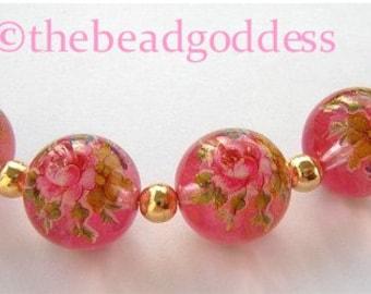 New 5 Beautiful Japanese Tensha Beads  ROSE BOUQUET on PINK 12mm