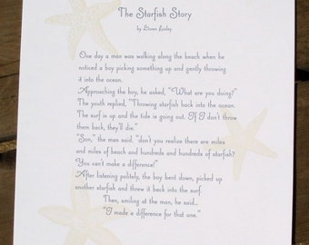 The Starfish Story - letterpress printed broadside
