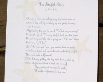 The Starfish Story - letterpress printed broadside