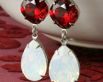 White Swarovski Crystal Earrings White Opal Crystal Earrings Teardrop Bridal Earrings Red Crystal Earrings Red White Christmas Earrings