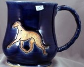 Greyhound, Whippet Pottery Mug- - 4 1/2 inches high