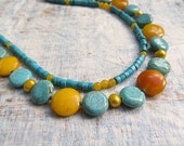 Christmas in July Sale Summer stone necklace yellow turquoise summer necklace CIJ