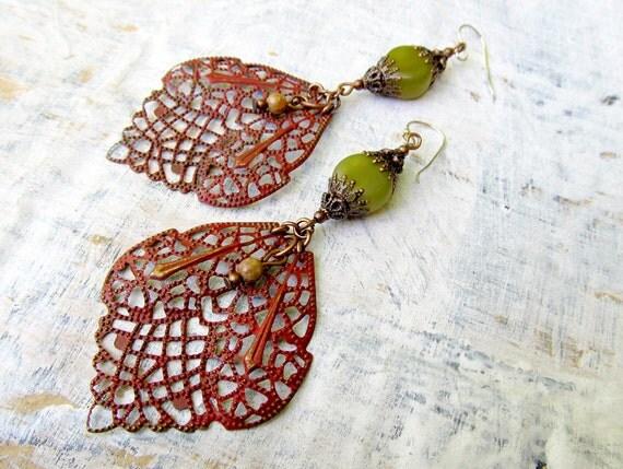 Boho earrings Bohemian jewelry Red Olive green Unique big Ethnic earring