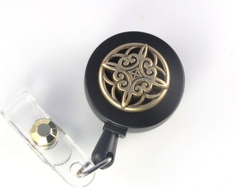 ID Badge Reel ANTIQUE GOLD beaded lanyard