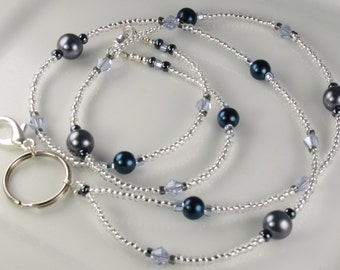 Elegant Beaded Lanyard SIMPLICITY Blue Gray Glass Pearls id badge holder