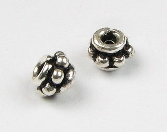 4mm Beads, Bali Sterling Silver Short Dotted Rondelle Spacer Beads 4mm Beading Supplies Jewelry Findings (10 beads)