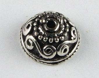 Swirly Waves Bali Sterling Silver Bead Caps (2 pieces)