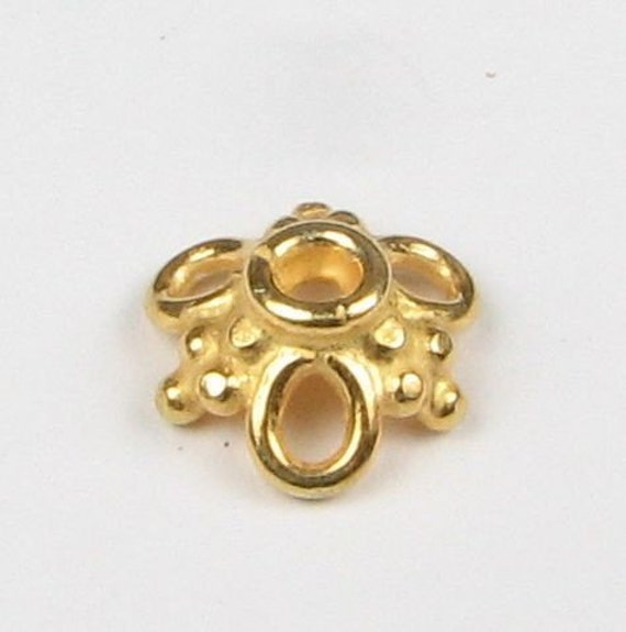 Bali 24 Karat Gold Vermeil Bead Caps with Loops and Dots 10mm (2 beads)