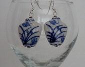 Blue and White Porcelain Vase Pierced Earrings