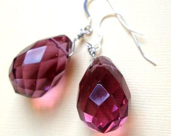 Purple Amethyst Quartz Silver Dangle Earrings