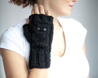 Owl Black Fingerless Gloves - Mittens