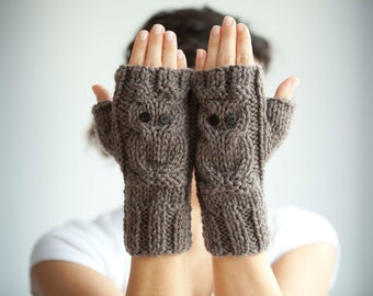 Owl Brown Fingerless Gloves - Mittens