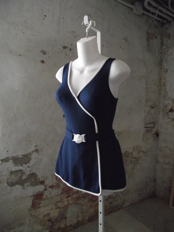 1960s Catalina Swimsuit Navy and White Molded Cups Attached Belted Waist Vintage Size 12