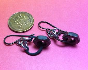 Handmade Steampunk earrings nuts from vintage singer 1917 sewing machine niobium earwires