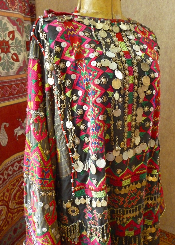 Tribal  Dress, ethnographic textile, hand embroidered mystery