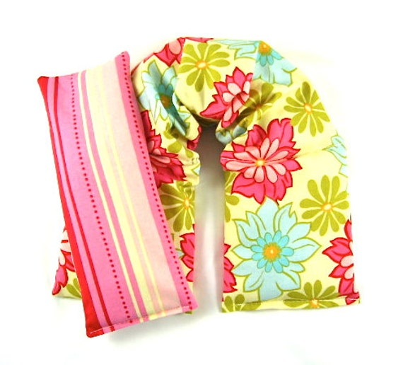 Neck Shoulder Heat Wrap Eye Pillow Set  Hot Cold Therapy Organic Flaxseed Rice Lavender Scented Floral Bliss Pink Blue Gift Guide