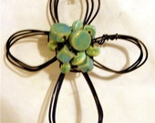 aqua ceramic--  wire cross ornament