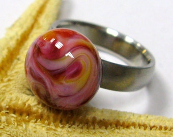 SMAUGGS handmade ring top (1p, 14mm x 9mm), glass,  orange, pink, with 2,5mm nut