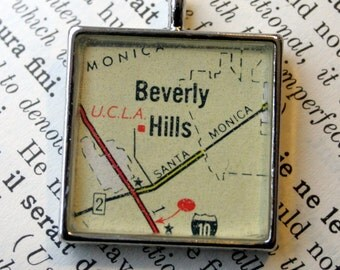 Beverly Hills California Map Pendant in square silver, UCLA Map Pendant, Map Jewelry