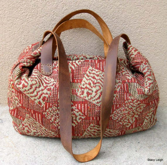 Carpetbag Civil War Era Handwoven Textile Tote Bag By
